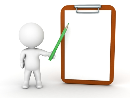 3D character showing a clipboard with a pencil Banque d'images