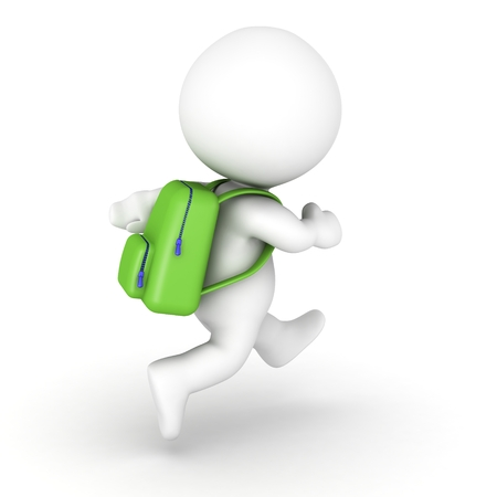 back packs: 3D character running with a green backpack