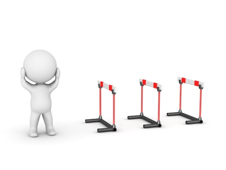 3D character stressed, next to several hurdles Stock Photo