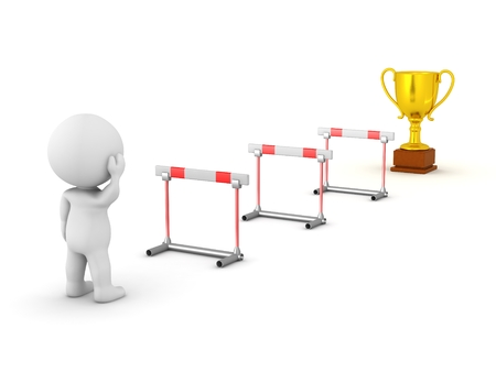 3D personage kijken naar een trofee voorbij obstakels