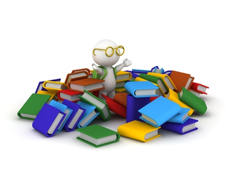 3D character with many colorful books, schoolbag and eye glasses