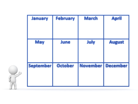 yearly: 3D character showing a large year calendar with 12 months