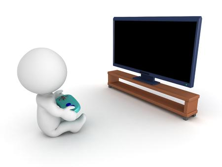 hdtv: 3D character playing video games in front of big screen TV