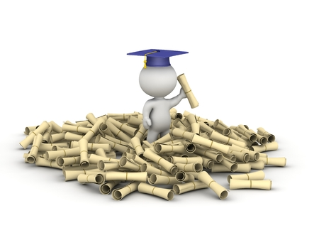 3d character: 3D Character and Pile of Diplomas