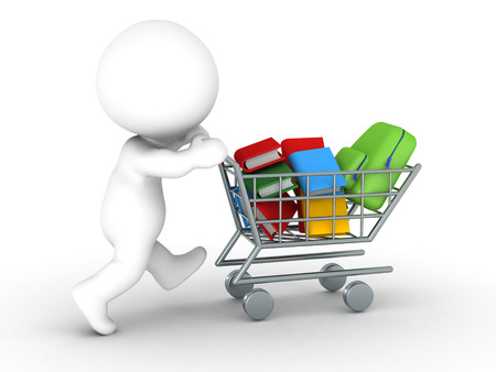 running back: 3D Character with shopping cart with books and school bag - back to school shopping concept