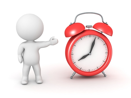 3D Character Showing Alarm Clock