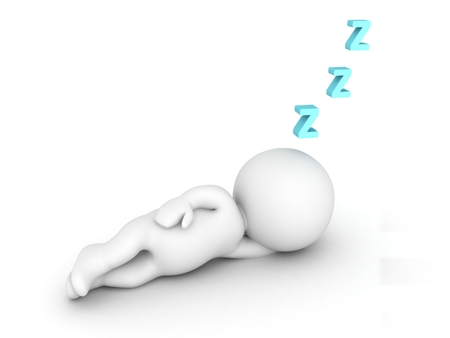 3D Character Sleeping and Z letters Stock Photo