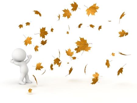 hombre cayendo: Carácter 3D mirar para arriba caer las hojas de otoño Foto de archivo