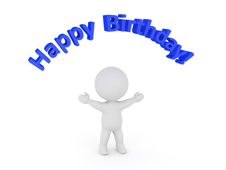 text 3d: 3D Character and Happy Birthday Text Stock Photo