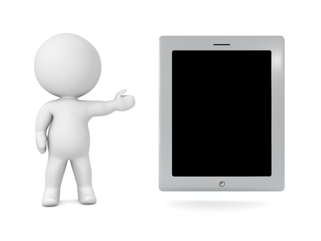 showing: 3D Character Showing Generic Tablet Stock Photo