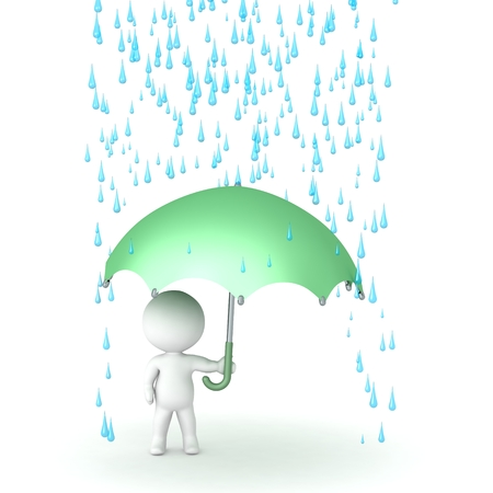 downpour: 3D Character with Umbrella and Rain above