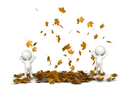 3D Characters Jumping und viele Falling Autumn Leaves