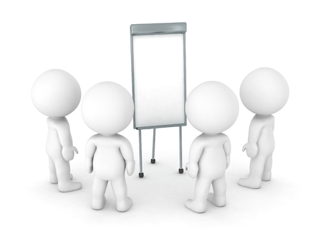 flipchart: 3D Characters gathered around Flip-Chart Stock Photo