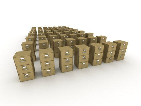 archiving: Many Rows of 3D Archiving File Cabinets Stock Photo