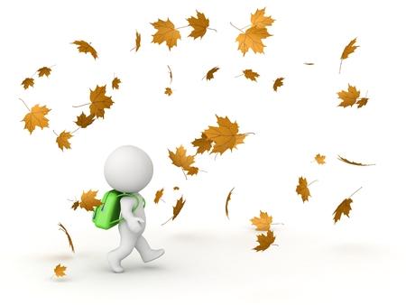 スクール バッグと秋の紅葉の 3 D 文字
