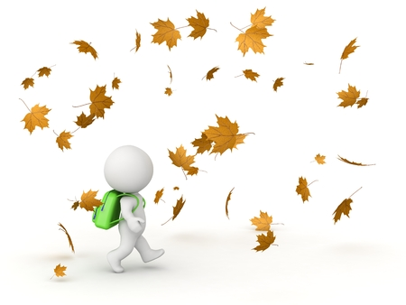 3D Character with School Bag and Autumn Leaves Stock Photo