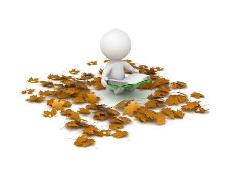 3d character: 3D Character Reading Book and Autumn Leaves around him Stock Photo