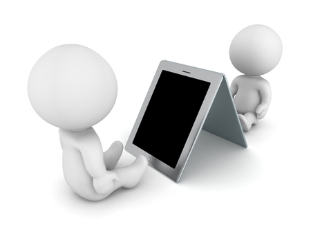Two 3D Characters Sitting and Reading from Generic Tablets