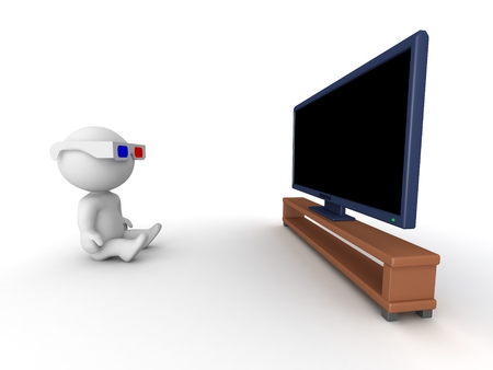 hd tv: 3D Character wearing 3D Glasses Watching HD TV