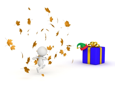 3D Character Running Through Autumn Leaves to Get to Winter Gifts photo