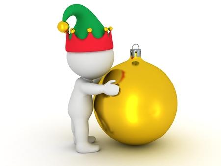 golden globe: 3D Character with Elf Hat Hugs Golden Globe