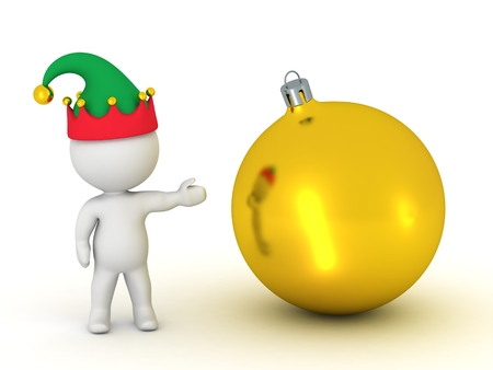 golden globe: 3D Character with Elf Hat Showing Golden Globe Stock Photo
