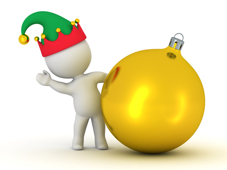 golden globe: 3D Character with Elf Hat Waving from behind Golden Globe