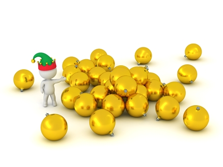showing: 3D Character Showing Pile of Golden Globes
