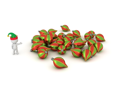 elf hat: 3D Character with Elf Hat Showing Pile of Colorful Globes