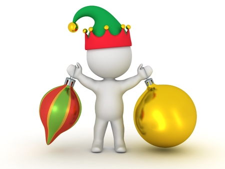 elf hat: 3D Character with Elf Hat Holding Two Colorful Globes