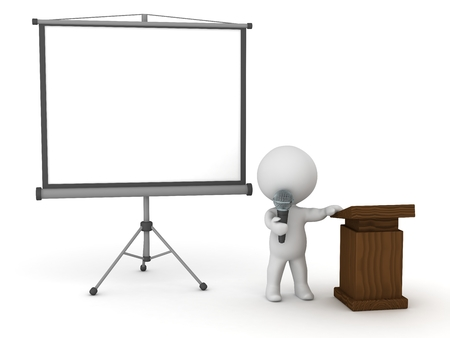 3D Character Public Speaker with Presentation Screen 版權商用圖片 - 38470700