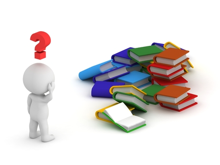3d character: 3D Character Question Symbol and Books