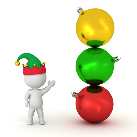 elf hat: 3D Character with Elf Hat Showing Stack of Globes