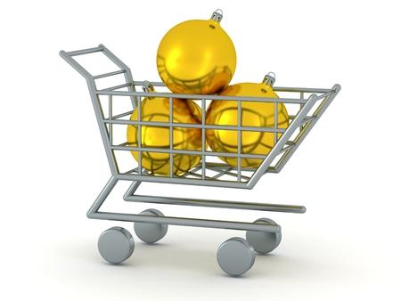 3D Shopping Cart with Three Golden Globes Banco de Imagens