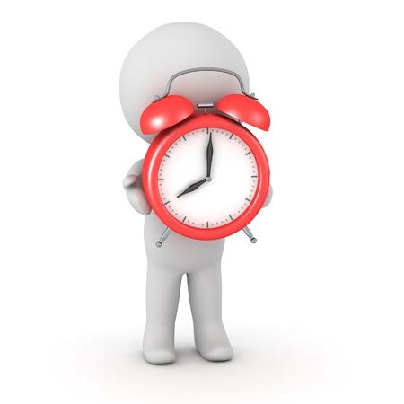 3D Character Clock Holdingalarmuhr