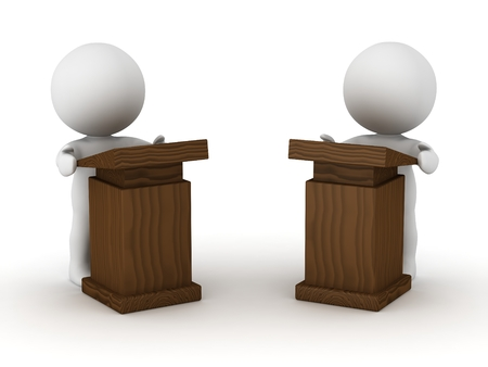 rn: Two 3D Characters at Speaker Lecterns