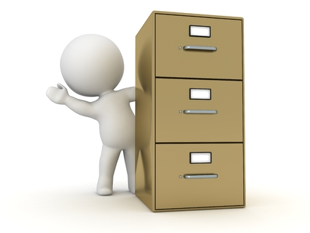 3D Character Waving from Behind Archiving Cabinet photo