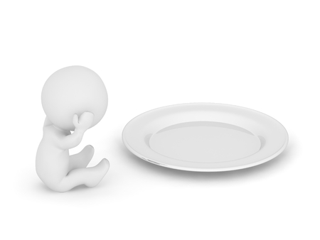 hungry: 3D Character is Hungry Stock Photo