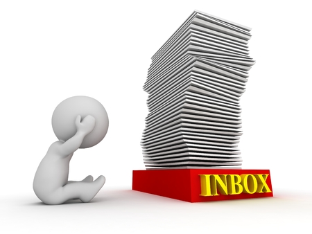overwork: 3D Character Stressed about Huge Stack in Inbox - Overworked Concept Stock Photo