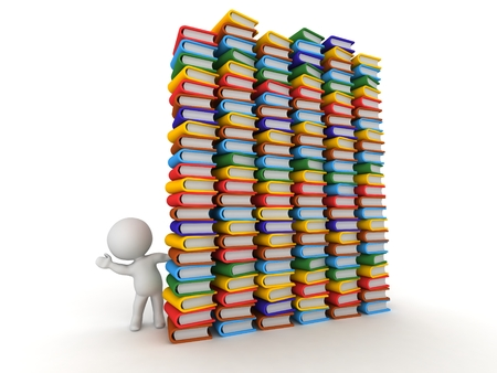 highschool: 3D Character Waving from Behind Huge Stacks of Books