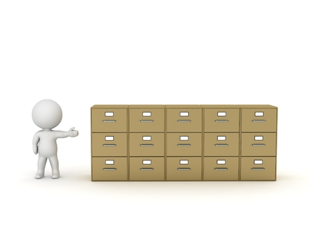 3D Character Showing Row of Archiving Cabinets photo