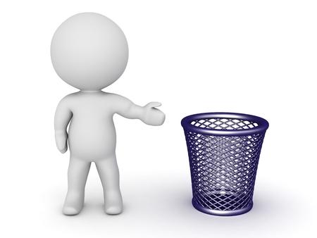 cesto basura: Carácter 3D Mostrando Trash Basket Foto de archivo