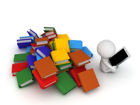 ignoring: 3D Character Using Tablet and Ignoring Books