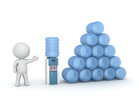 man drinking water: 3D Character Showing Watercooler and Supply of Water