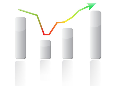 quarterly: Illustration of Graph showing decline and recovery. Stock Photo