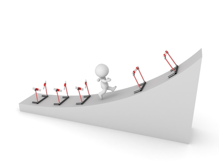 uphill: 3D Character Running Uphill Through Barriers Stock Photo