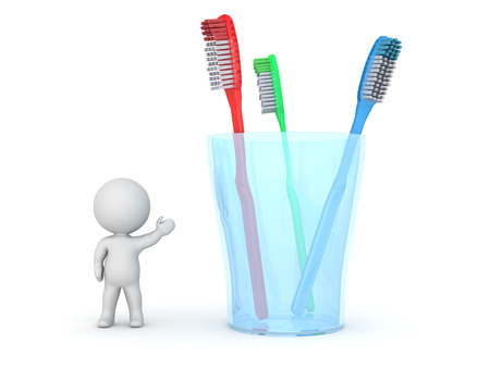 hygene: A 3D character showing a glass with three toothbrushes. Isolated on white background. Stock Photo