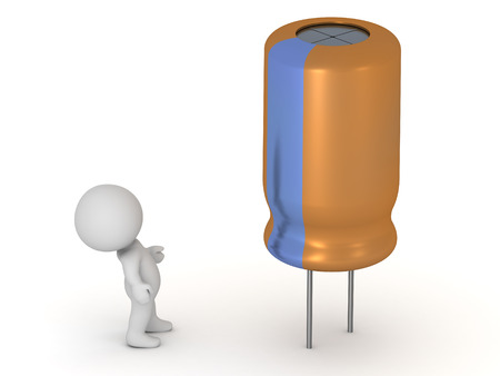 A 3D character looking up at a large electrolytic capacitor. Isolated on white background.
