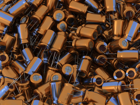 capacitor: Many 3D colorful metallic electrolytic capacitors.