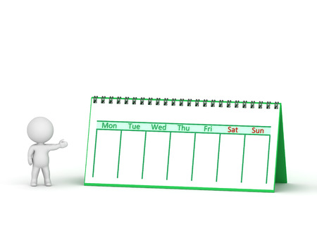 A 3D character showing a week calendar with spiral binding. Isolated on white background.
